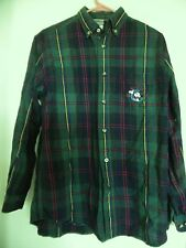 VTG Disney Store Mickey Button Down Plaid Shirt Embroidered Sz Small