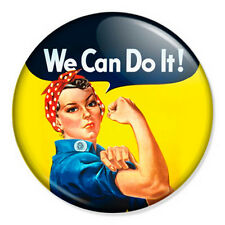 "We Can Do It 25mm 1"" Pin Badge Rosie Riveter Vintage Feminist Retro WW2"