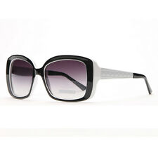 Square Frame Sunglasses with Quilt-like Texture Design on Side - Black/White