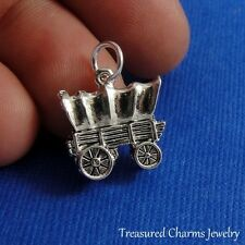 Silver COVERED WAGON Conestoga Old West Western CHARM PENDANT *NEW*