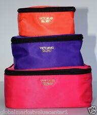3 VICTORIA SECRET TRIO BAGS PINK ORANGE PURPLE MAKE UP BAG COSMETIC  NEW