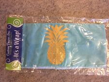 "NWT Decorative Seasonal Blue & Gold Pineapple Pillow Wrap Fits 18"" Pillow"