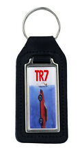Triumph TR7 Jaws Rectangle Black Leather Keyring