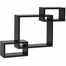 BCP 3 Intersecting Boxes Floating Shelf Wall Mounted Home Decor Furniture Black