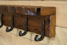 "Reclaimed 27"" Grain Eroded White Pine Coat Rack / 5 Railroad Spike Hooks & Shelf"