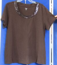 EUC Adorable STYLE & CO Woman KNIT TOP w. BLING on SCOOP Neckline Brown Sz 1X Wa