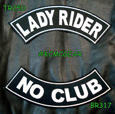 Lady Rider No Club Embroidered Patches Sew on Patches Motorcycle Biker Patch Set