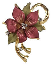 RUCINNI  Orchid Brooch with Swarovski Crystal and 20K Gold Plated