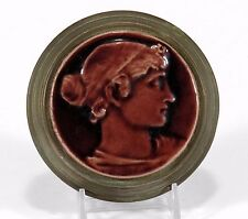 Low Art Tile Works Co iron brass stove portrait paperweight Arts & Crafts maroon