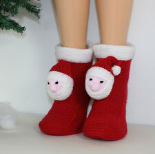 PRINTED INSTRUCTIONS - MENS SANTA HEAD CHRISTMAS BOOTS SLIPPERS KNITTING PATTERN