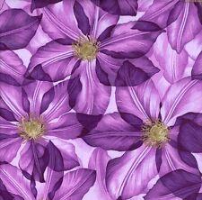 Grandi CLEMATIS fioriture Tessuto Viola 1 Metro x 112 cm f902-1 100% COTONE
