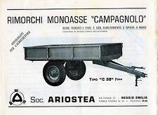 """Pubblicità WERBUNG - SOC.ARIOSTEA REGGIO E."""" RIMORCHI MONOASSE CAMPAGNOLO """""""