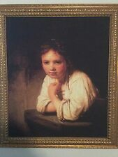 Beautiful Museum Quality LARGE Print Rembrandt Girl at the Window