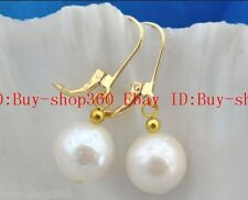 Huge Natural 12-13mm round baroque white Nucleated pearl earring AAA