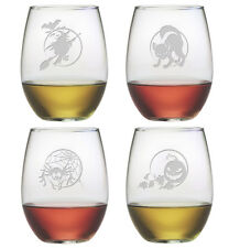 Halloween Designs Stemless Wine Glasses Set of 4 - Each with a Different Design