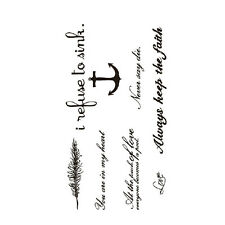 Black Love & Letter Transfer Waterproof Temporary Tattoo Body Art Sticker Great
