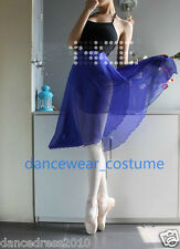 Ladies Chiffon Ballet Tutu Wrap Skirt Dance Leotard Hip Scarf 60cm length Blue