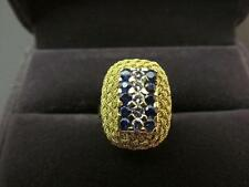 22k Solid Yellow Gold Diamond And Blue Spinel Gemstone Ring Size 7.75