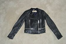 Burberry Brit Black Leather Biker Jacket Zip Through Womens Size UK 6 / US 4