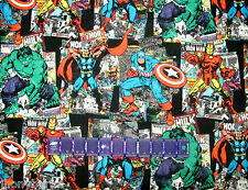 HULK IRON MAN MARVEL COMICS VINTAGE ART on 100% COTTON FABRIC Priced By The Yard
