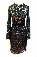VALENTINO Black Lace Nude Lining Bow Detail Cocktail Evening LBD Dress Sz4