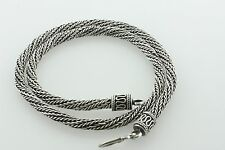 Sterling Silver 925 Bali Style 6mm Woven Rope Twist Chain Hook Necklace - 18""