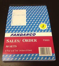 """Sales Order Book Receipt Book 50 Triplicate Forms Carbonless 5.5""""x8.5"""" 10 pack"""