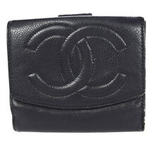 Auth CHANEL CC Logos Bifold Wallet Purse Caviar Skin Leather BK Vintage 03K050