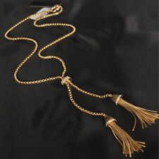 Women Gold Plated Alloy Tassel Pendant Rhinestone Long Chain Sweater Necklace