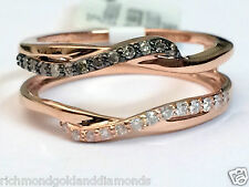 Wave Design 14k Rose Gold Solitaire Enhancer Champagne Diamonds Ring Guard Wrap