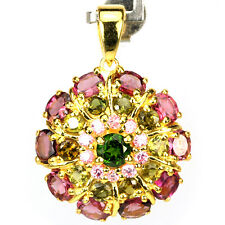 NATURAL AAA MULTI COLOR TOURMALINE & PINK CZ STERLING 925 SILVER PENDANT