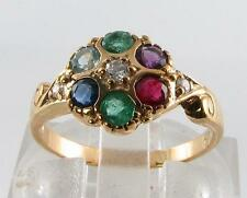DIVINE 9CT 9K GOLD DEAREST ART DECO INS CLUSTER RING FREE RESIZE