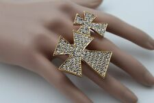 Women Gold Ring Fashion Big Cross Metal Adjustable Rhinestones Double 2 Fingers