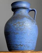 LARGE Vintage 60-70's DUTCH POTTERY Mottled Blue Vase Jug Fat Lava Era Holland