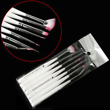 7pcs White Nail Art Design Painting Pen Polish Brush Set Manicure Tips Tools Kit