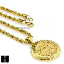 "NEW 316L STAINLESS STEEL HEAVY EYE OF HORUS HERU EGYPT W/ 24"" ROPE CHAIN SN004G"
