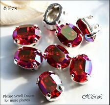 6 Swarovski 8mm x 6mm Vintage Light Siam Red AB Crystal Oval Sew Ons sp 8x6mm Lt