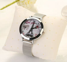 Stylish Womens Stainless Steel Paris Eiffel Tower Face Silver Band Quartz Watch