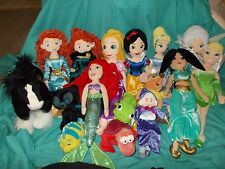 "21"" Disney Store Plush Princess Doll Lot ~ Jasmine Snow White Rapunzel Tink"
