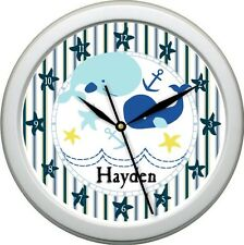 Personalized Nautical Whale Nursery Decore Wall Bedding Clock Cute Gift