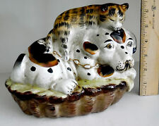STAFFORDSHIRE STYLE CERAMIC DOG AND CAT FIGURINE