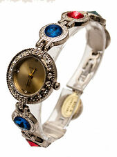 CHANTILLY:WOMEN'S FULL MULTICOLOR STONES SILVER FINISH  LINK ANALOG QUARTZ WATCH