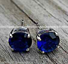 Estate 2 ctw Diamond cut Blue Sapphire Round Stud .925 Sterling Silver Earrings