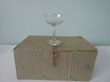 Lot of 6 Sasaki Crystal Gray Cut Rose & Leaves Champagne Glasses w/Box