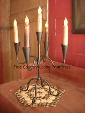 Primitive Colonial Black Iron 5 Arm Cone Taper Candle Holder
