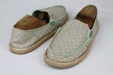 SANUK HOT DOTTY WOMENS SANDALS SIDEWALK SURFERS NATURAL MINT DOTS SIZE 7 US