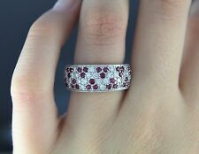 $3,550 Ed 18K White Gold Round Blood Red Ruby Pave Set Diamond Ring Band Size 7