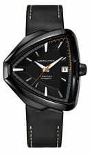 New Hamilton H24585731 Ventura Elvis80 Black Dial & Leather Strap Men's Watch