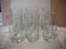 VINTAGE SET OF 6 WOMENS SUFFRAGE DINNER GLASSES HEAVY BASES (GLASSES16-1)