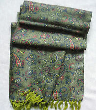 TASSLED SCARF VINTAGE RETRO MOD 1960s 1970s GREEN PAISLEY RED BLUE YELLOW MOD